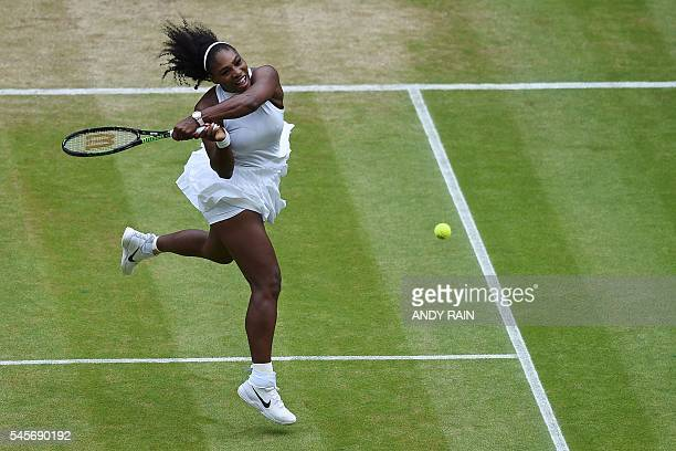 US player Serena Williams returns against Germany's Angelique Kerber during the women's singles final on the thirteenth day of the 2016 Wimbledon...