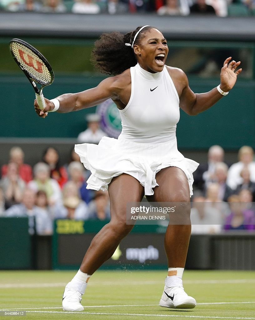 US player Serena Williams wins a point against US player Christina McHale during their women's singles second round match on the fifth day of the 2016 Wimbledon Championships at The All England Lawn Tennis Club in Wimbledon, southwest London, on July 1, 2016. / AFP / ADRIAN