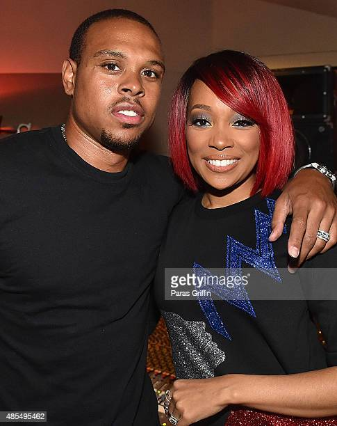 Player Shannon Brown and recording artist Monica attend The Code Red Experience at Patchwerk Recording Studios on August 27 2015 in Atlanta Georgia