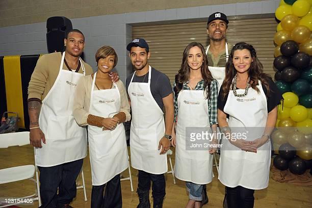NBA player Shannon Brown recording artist Monica actors Wilmer Valderrama Eliza Dushku former NBA player Rick Rox and Ali Landry join The Cheesecake...