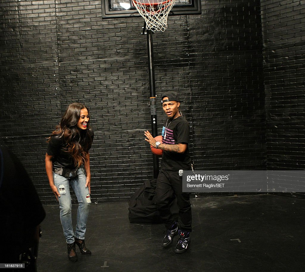 WNBA player Skylar Diggins plays Bow Wow in a game of one on one basketball during 106 & Park at 106 & Park Studio on September 23, 2013 in New York City.