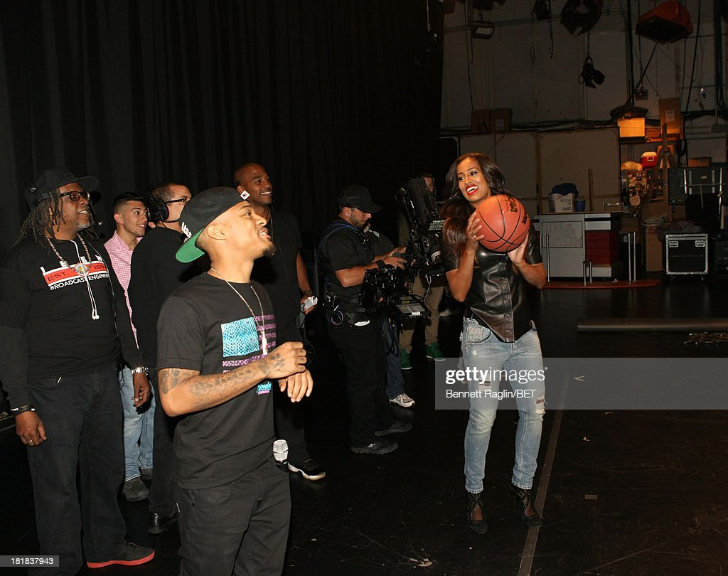 WNBA player Skylar Diggins (R) plays Bow Wow in a game of one on one basketball during 106 & Park at 106 & Park Studio on September 23, 2013 in New York City.
