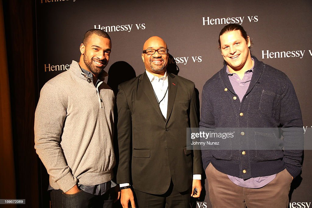 NFL player Spencer Paysinger, Hennessy's Rodney Williams, and NFL player <a gi-track='captionPersonalityLinkClicked' href=/galleries/search?phrase=Markus+Kuhn&family=editorial&specificpeople=5578251 ng-click='$event.stopPropagation()'>Markus Kuhn</a> attend Hennessy vs Introduces Nas As Newest Partner at R Lounge at the Renaissance New York Times Square Hotel on January 15, 2013 in New York City.