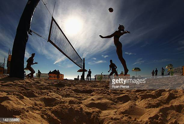 A player spikes the ball during day two of the National Beach Volleyball Series at Manly Beach on March 31 2012 in Manly Australia