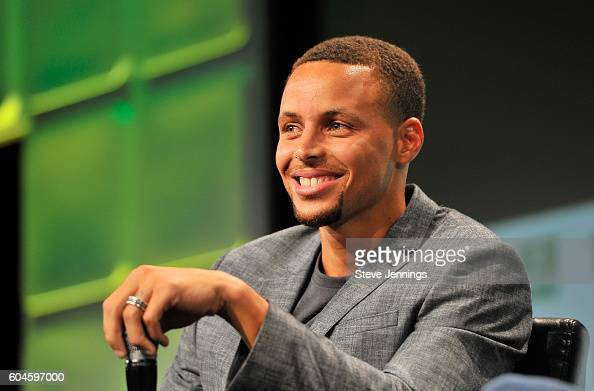 Player Steph Curry speaks onstage during TechCrunch Disrupt SF 2016 at Pier 48 on September 13 2016 in San Francisco California