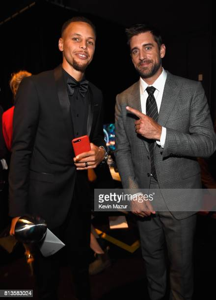 NBA player Steph Curry winner of Best Team and NFL player Aaron Rodgers winner of Best Play and Best NFL Player attend The 2017 ESPYS at Microsoft...