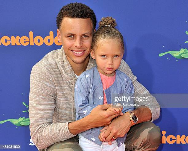 NBA player Stephen Curry and daughter Riley Curry attend the Nickelodeon Kids' Choice Sports Awards 2015 at UCLA's Pauley Pavilion on July 16 2015 in...