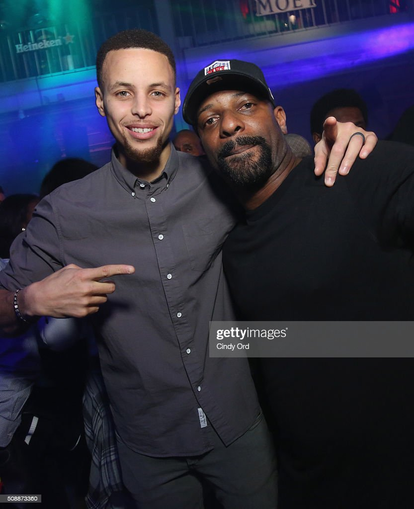 NBA player Stephen Curry (L) and DJ Irie attend Rolling Stone Live SF with Talent Resources on February 7, 2016 in San Francisco, California.