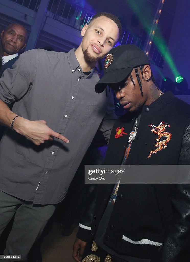 NBA player Stephen Curry (L) and recording artist Travis Scott attend Rolling Stone Live SF with Talent Resources on February 7, 2016 in San Francisco, California.