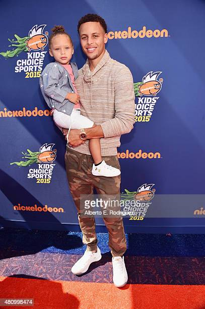 NBA player Stephen Curry and Riley Curry attend the Nickelodeon Kids' Choice Sports Awards 2015 at UCLA's Pauley Pavilion on July 16 2015 in Westwood...