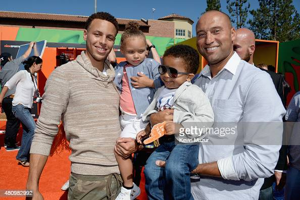 NBA player Stephen Curry Riley Curry Jalen JeterMartin and Legend Award recipient Derek Jeter attend the Nickelodeon Kids' Choice Sports Awards 2015...