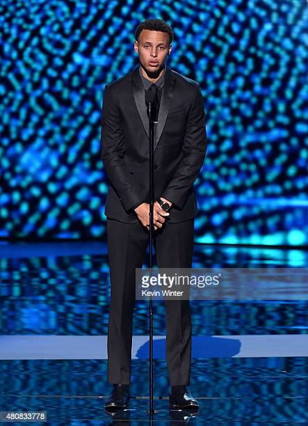 NBA player Stephen Curry speaks onstage during The 2015 ESPYS at Microsoft Theater on July 15 2015 in Los Angeles California