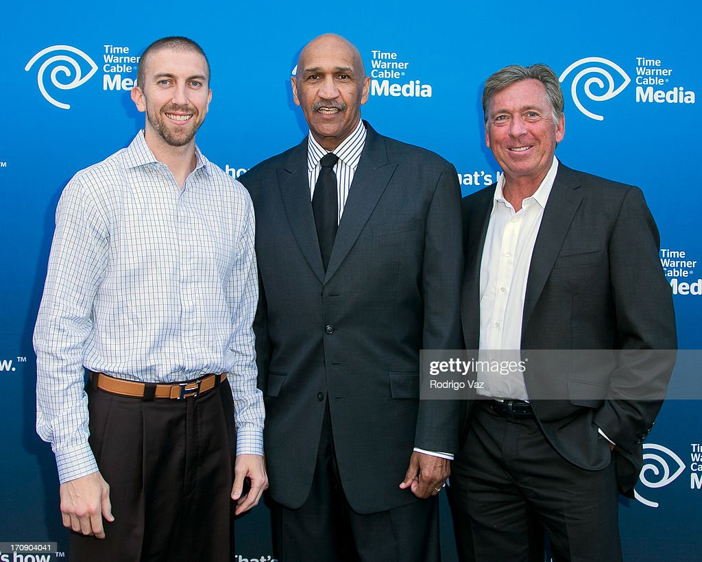 NBA player Steve Blake and commentators Stu Lantz and Bill MacDonald attends the Time Warner Cable Media (TWC Media) 'View From The Top' Upfront at Vibiana on June 19, 2013 in Los Angeles, California.