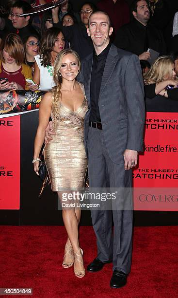 NBA player Steve Blake and wife Kristen Blake attend the premiere of Lionsgate's 'The Hunger Games Catching Fire' at Nokia Theatre LA Live on...