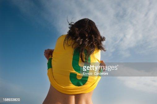 Player stripping soccer uniform