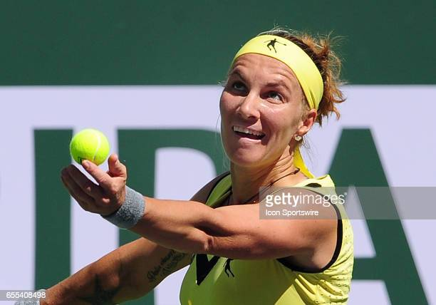 WTA player Svetlana Kuznetsova serving during a finals match against Elena Vesnina on March 19 during the BNP Paribas Open played at the Indian Wells...