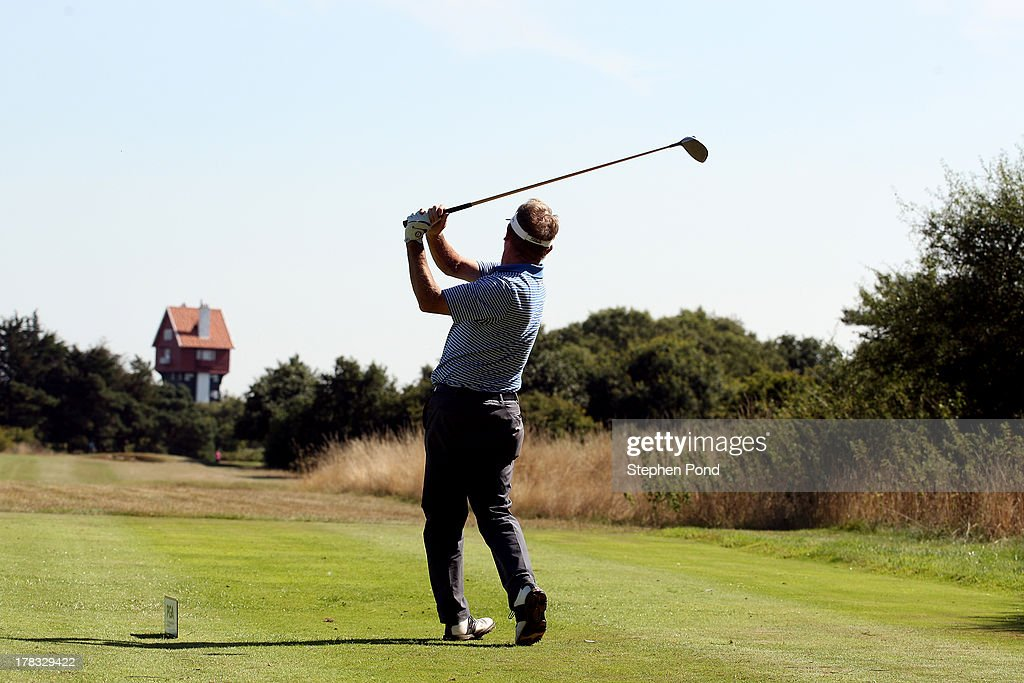 A player tees off on the eighteenth hole during the PGA Super 60's Tournament at Thorpeness Hotel and Golf Club on August 29, 2013 in Thorpeness, England.