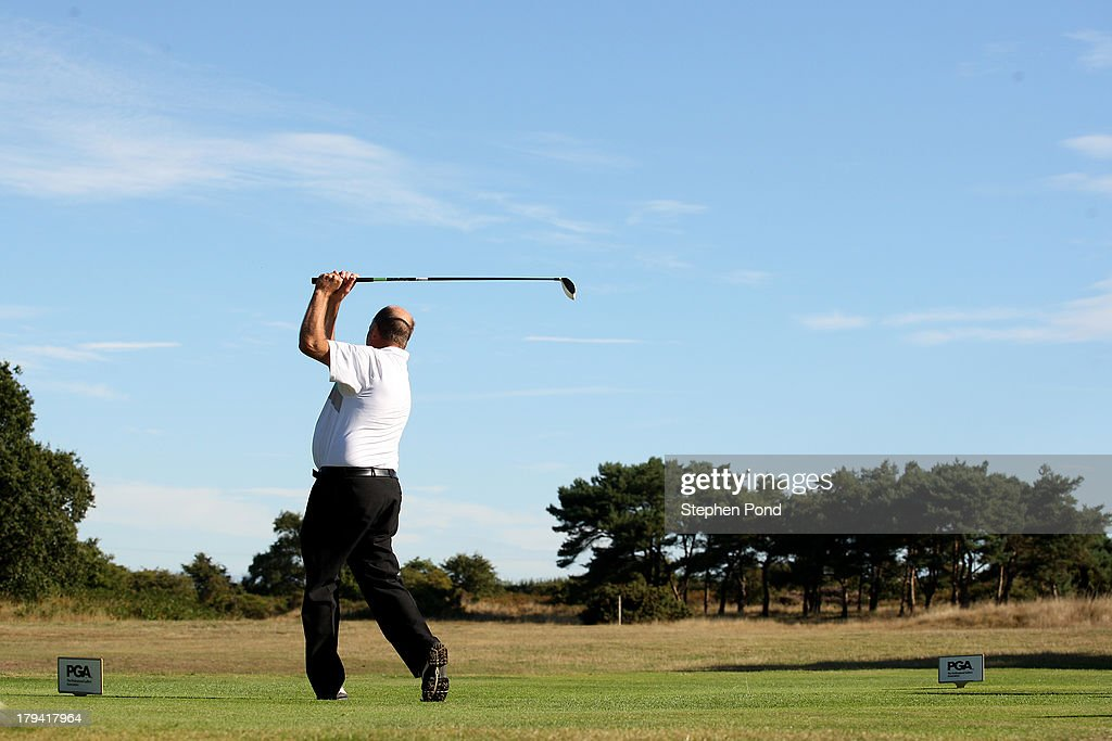 A player tees off on the first hole during the PGA Super 60's Tournament at Thorpeness Hotel and Golf Club on August 30, 2013 in Thorpeness, England.