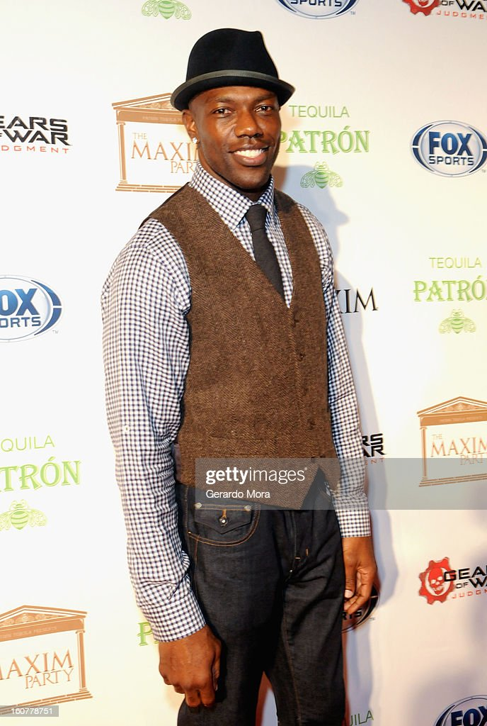 NFL player Terrell Owens attends The Maxim Party With 'Gears of War: Judgment' For XBOX 360, FOX Sports & Starter Presented by Patron Tequila at Second Line Warehouse on February 1, 2013 in New Orleans, Louisiana.