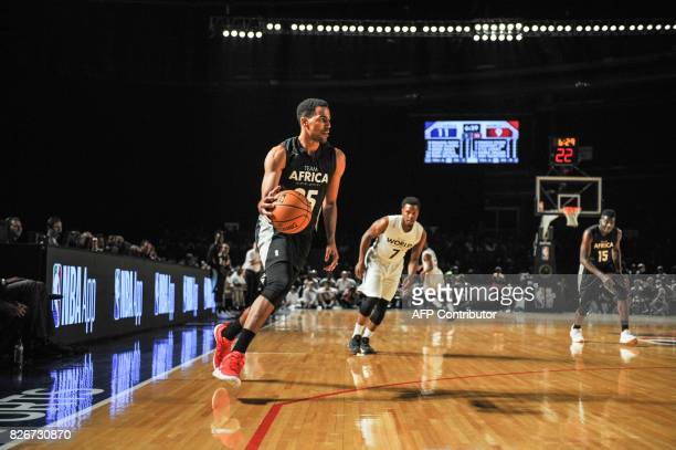NBA player Thabo Sefolosha from the Philidelphia 76ers vies during the NBA Africa Game 2017 basketball match between Team Africa and Team World on...