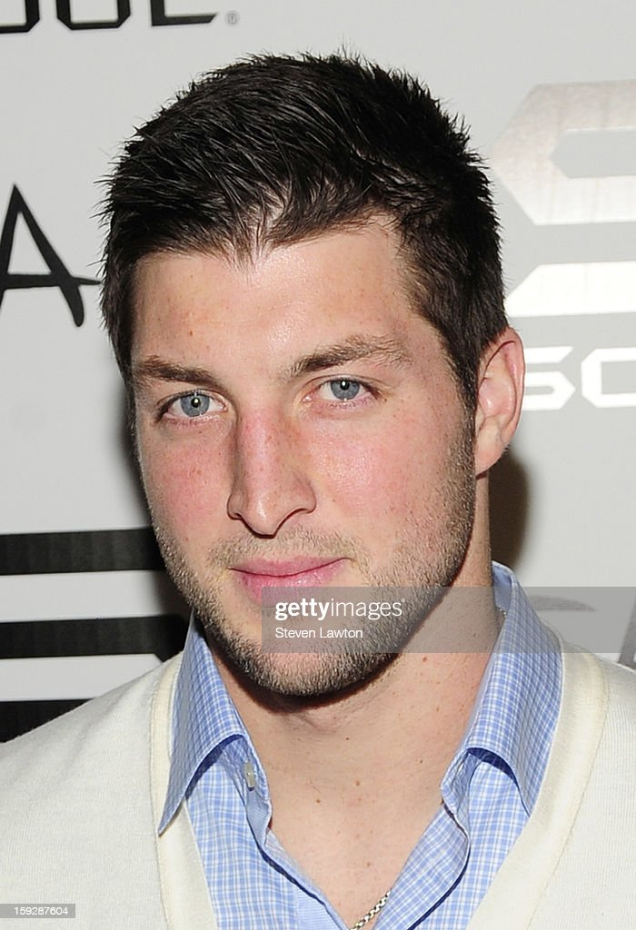 NFL player <a gi-track='captionPersonalityLinkClicked' href=/galleries/search?phrase=Tim+Tebow&family=editorial&specificpeople=2729658 ng-click='$event.stopPropagation()'>Tim Tebow</a> arrives for the offcial Soul headphones party at Tao Nightclub at The Venetian on January 10, 2013 in Las Vegas, Nevada.