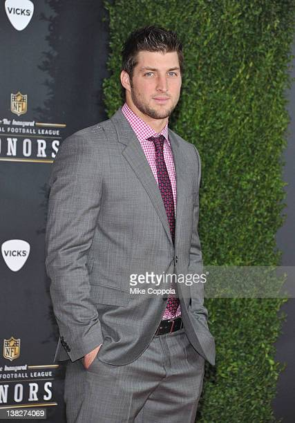 NFL player Tim Tebow of the Denver Broncos attends NFL Honors And Pepsi Rookie Of The Year at Murat Theatre on February 4 2012 in Indianapolis Indiana