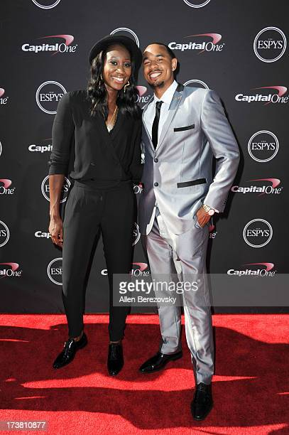 WNBA player Tina Charles and a guest arrive at the 2013 ESPY Awards at Nokia Theatre LA Live on July 17 2013 in Los Angeles California