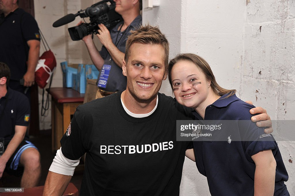 Player <a gi-track='captionPersonalityLinkClicked' href=/galleries/search?phrase=Tom+Brady+-+American+Football+Quarterback&family=editorial&specificpeople=201737 ng-click='$event.stopPropagation()'>Tom Brady</a> (L) and Best Buddies International ambassador Katie Meade attend the <a gi-track='captionPersonalityLinkClicked' href=/galleries/search?phrase=Tom+Brady+-+American+Football+Quarterback&family=editorial&specificpeople=201737 ng-click='$event.stopPropagation()'>Tom Brady</a> Football Challenge for the Best Buddies Challenge: Hyannis Port on May 31, 2013 in Boston, Massachusetts.