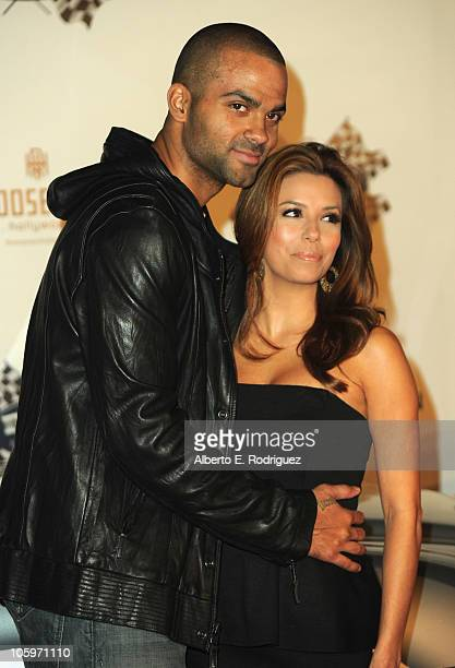 NBA player Tony Parker and actress Eva Longoria Parker arrive to the 2nd Annual Rally for Kids With Cancer 'The Qualifiers' Celebrity Draft Party on...