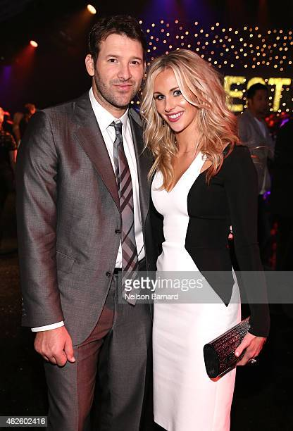 NFL player Tony Romo and reporter Candice Crawford attends DirecTV Super Saturday Night hosted by Mark Cuban's AXS TV and Pro Football Hall of Famer...