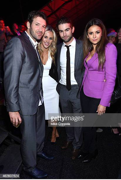 NFL player Tony Romo Candice Crawford actor Chace Crawford and actress Nina Dobrev attend DirecTV Super Saturday Night hosted by Mark Cuban's AXS TV...