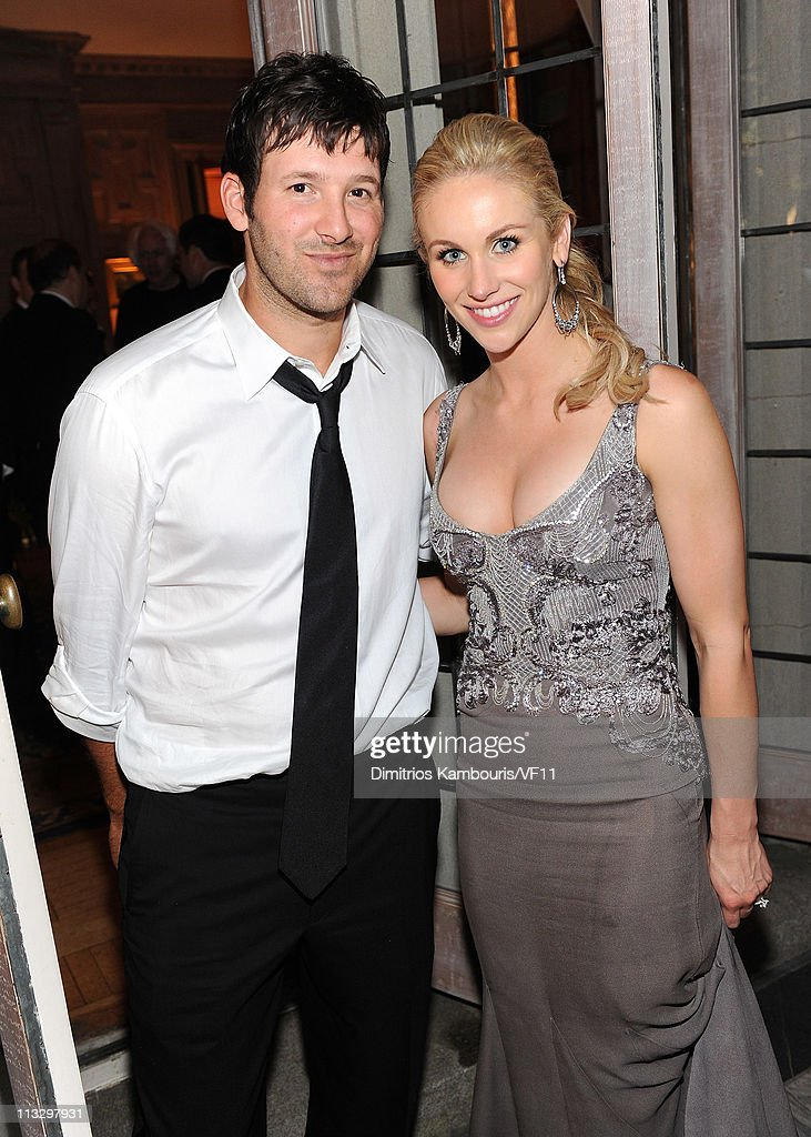 NFL Player <a gi-track='captionPersonalityLinkClicked' href=/galleries/search?phrase=Tony+Romo&family=editorial&specificpeople=756503 ng-click='$event.stopPropagation()'>Tony Romo</a> of the Dallas Cowboys and <a gi-track='captionPersonalityLinkClicked' href=/galleries/search?phrase=Candice+Crawford&family=editorial&specificpeople=5127745 ng-click='$event.stopPropagation()'>Candice Crawford</a> attend the Bloomberg & Vanity Fair cocktail reception following the 2011 White House Correspondents' Association Dinner at the residence of the French Ambassador on April 30, 2011 in Washington, DC.