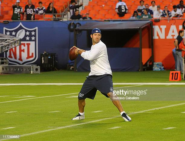 NFL player Tony Romo practices prior to the 2010 Pro Bowl at Sun Life Stadium on January 31 2010 in Miami Gardens Florida