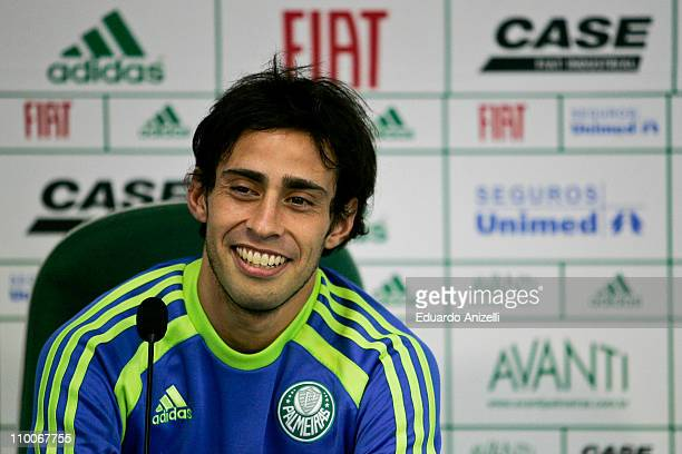 Player Valdivia speaks during a press conference following a training session of Palmeiras at Academia de Futebol on March 14 2011 in Sao Paulo Brazil