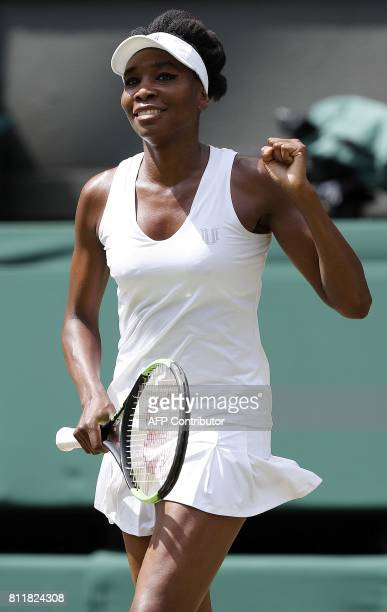 US player Venus Williams reacts after winning against Croatia's Ana Konjuh returns against during their women's singles fourth round match on the...