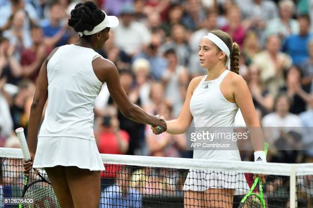 US player Venus Williams shakes hands with Latvia's Jelena Ostapenko after Williams won their women's singles quarterfinal match on the eighth day of...