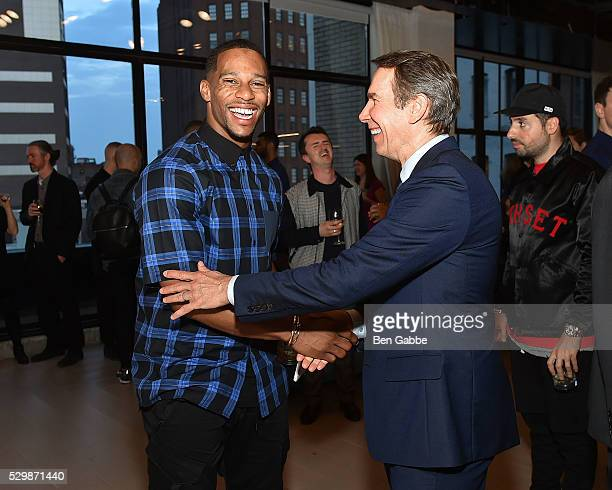 NFL player Victor Cruz and artist Jeff Koons attend the Jeff Koons x Google launch on May 09 2016 in New York New York