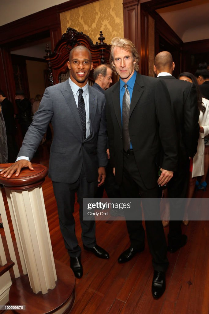 NFL player Victor Cruz and director/producer Michael Bay attend The Giving Back Fund's 4th Annual Big Game Big Give Super Bowl Celebration on February 2, 2013 in New Orleans, Louisiana.