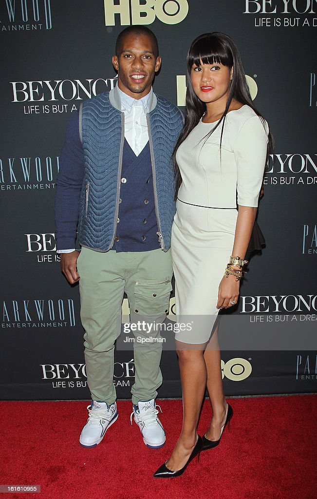 Player Victor Cruz and fiance Elaina Watley attend 'Beyonce: Life Is But A Dream' New York Premiere at Ziegfeld Theater on February 12, 2013 in New York City.