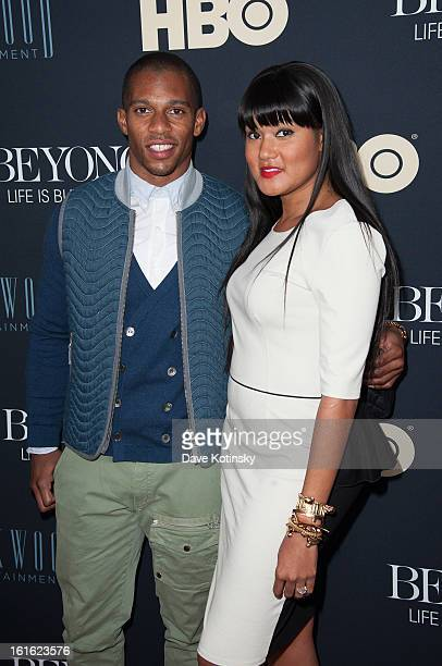Player Victor Cruz and fiance Elaina Watley attends the 'Beyonce Life Is But A Dream' New York Premiere at Ziegfeld Theater on February 12 2013 in...