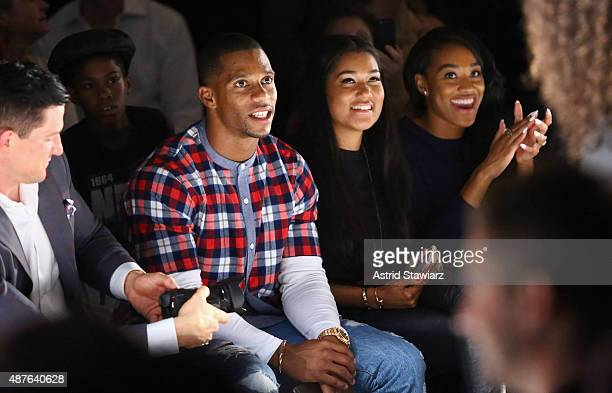 Player Victor Cruz and his fiance Elaina Watley attend the Kids Rock fashion show during Spring 2016 New York Fashion Week The Shows at The Dock...