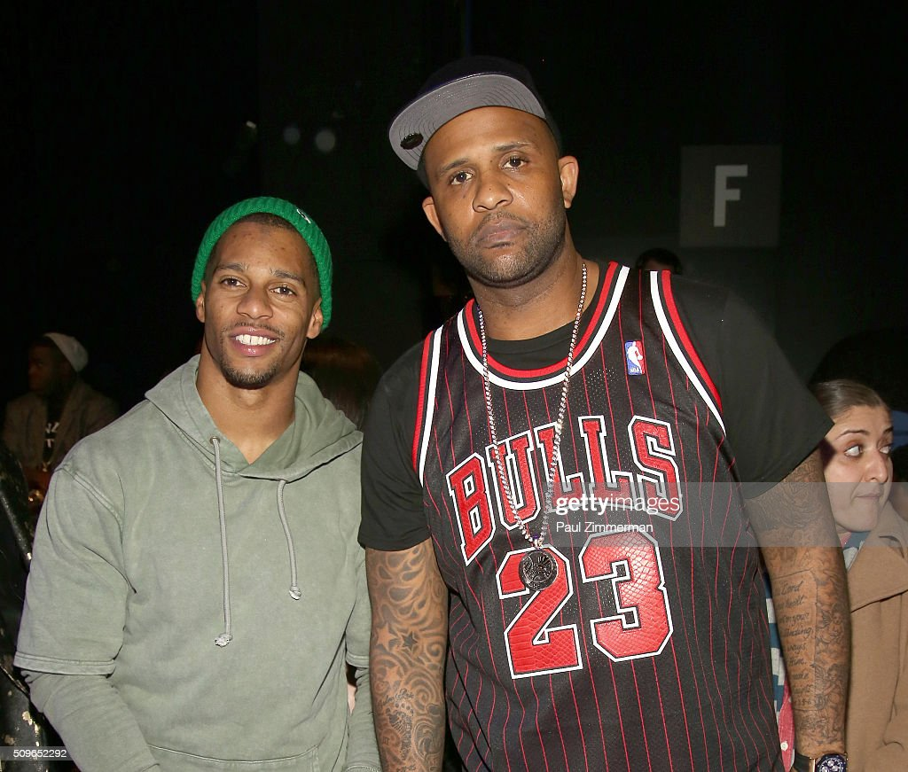 NFL player Victor Cruz (L) and MLB player CC Sabathia attend the Rookie USA Presents Kids Rock! - Front Row & Backstage - Fall 2016 New York Fashion Week: The Shows at Skylight at Moynihan Station on February 11, 2016 in New York City.