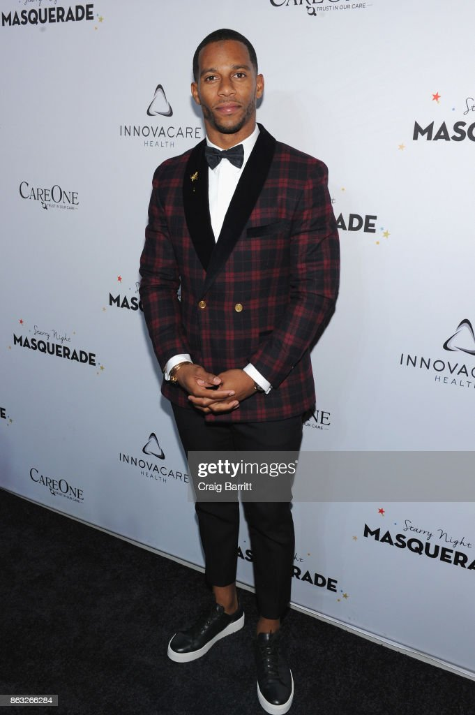 Player Victor Cruz attend Daniel E Straus & CareOne Starry Night Masquerade For Puerto Ricoat Skylight Clarkson North on October 19, 2017 in New York City.