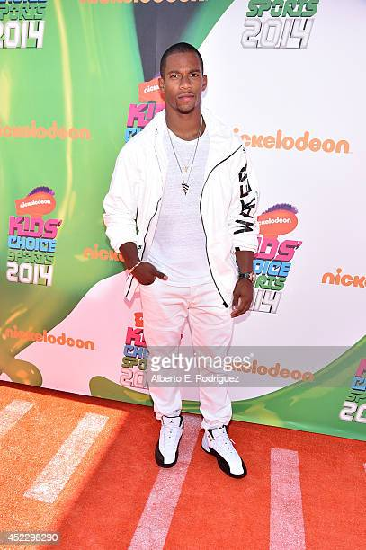NFL player Victor Cruz attends Nickelodeon Kids' Choice Sports Awards 2014 at UCLA's Pauley Pavilion on July 17 2014 in Los Angeles California