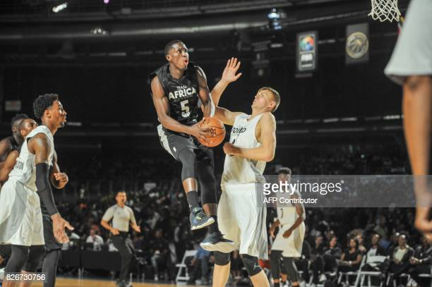 NBA player Victor Oladipo from the Orlando Magic scores during the NBA Africa Game 2017 basketball match between Team Africa and Team World on August...