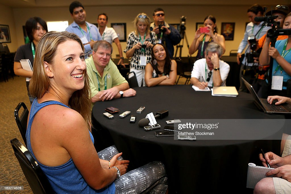 WTA player Victoria Azarenka of Belarus fields questions from the media during the WTA All Access Hour at the BNP Paribas Open at the Indian Wells Tennis Garden on March 6, 2013 in Indian Wells, California.