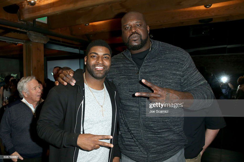 NFL player Vinny Curry and former NBA player Shaquille O'Neal attend the Fanatics Super Bowl Party on February 6, 2016 in San Francisco, California.
