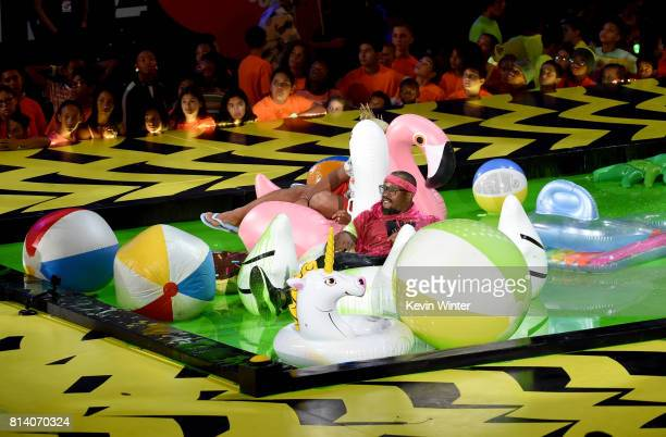 NFL player Von Miller floats in slime pool onstage during Nickelodeon Kids' Choice Sports Awards 2017 at Pauley Pavilion on July 13 2017 in Los...