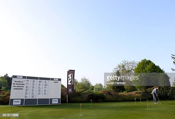 A player warms up on a practice green during the PGA Assistants Championship South West Qualifier at Exeter Golf and Country Club on May 16 in Exeter...