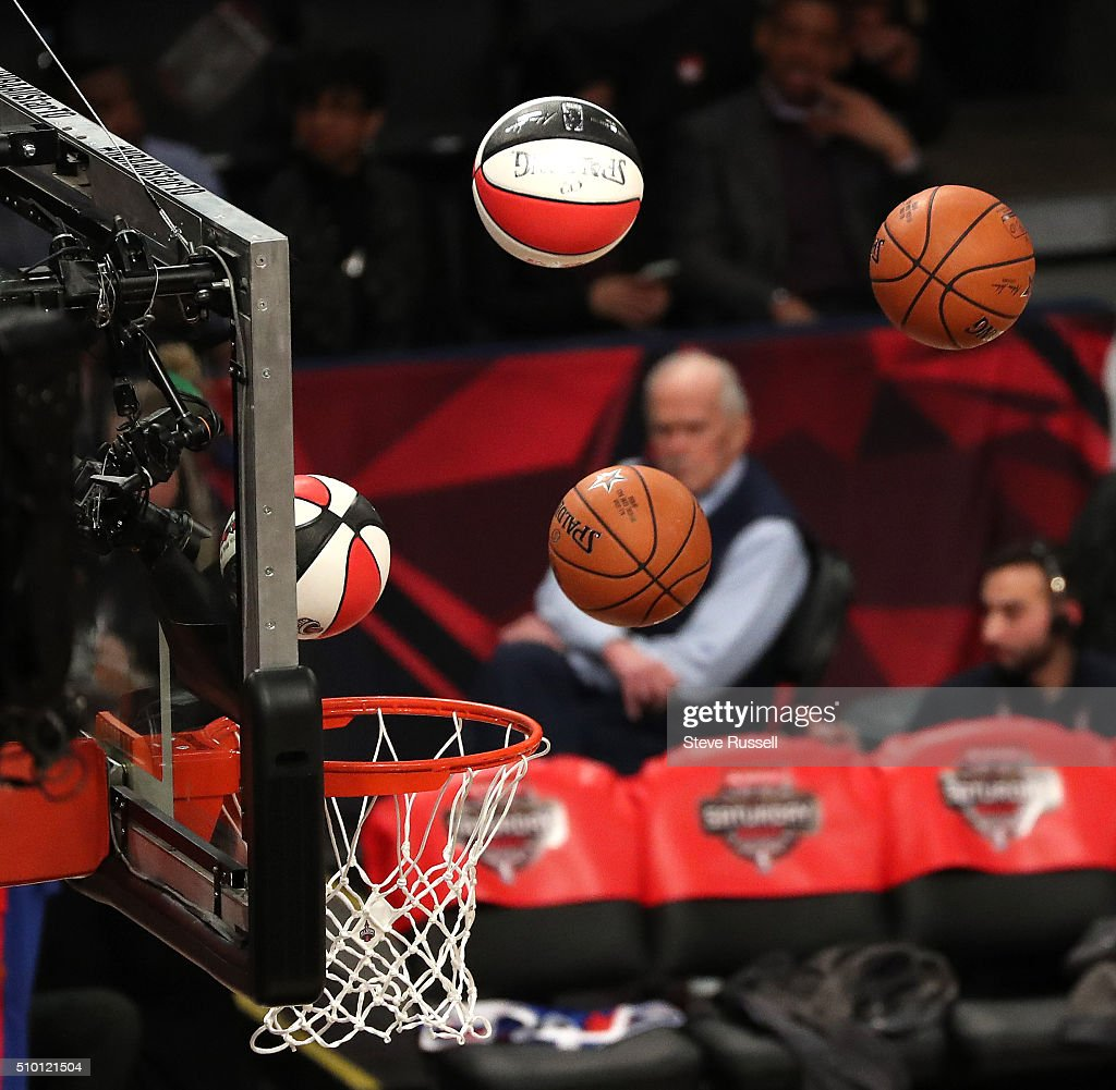 Player warmup for the 3 point shootout during the NBA's All-Star Saturday Night. Where players compete in three events, the Skills Challenge, 3-point shooting and Slam Dunk at the in Toronto. February 13, 2016.
